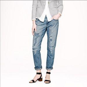 """Distressed"" J. Crew Slim Boyfriend Jeans"